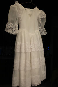 Long White Dress with Lace Accents - Worn Once