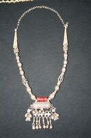Antique Silver Bedouin Necklace from Jordan (Pill Shaped)