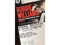 STANDING Robbie Williams tickets x2 EDINBURGH