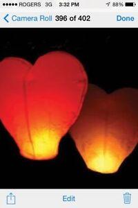 Heart-shaped sky lanterns $1.00 each