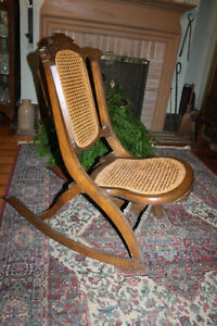 ROCKING CHAIR (FOLDING-CANE-SOLID WOOD Antique)