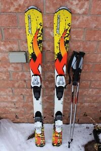Nordica skis JUNIOR size 120 cm long w/ Marker 7.0 bindings and