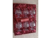 Set of six Crystal Brandy Glasses, complete in presentation box