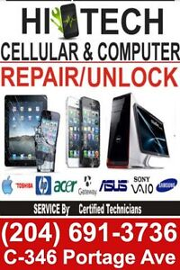 Cell phone screen repair/unlock/accessories/laptop screen/virus
