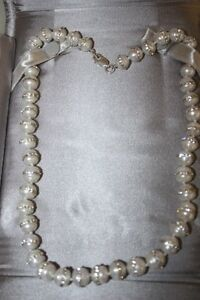 Sterling silver natural pearl and cubic chrystals necklace. London Ontario image 1