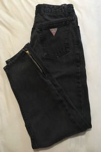 GUESS Hi Waist Acid Wash Tapered Denim Jeans Zipper Ankle
