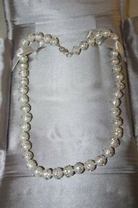 Sterling silver natural pearl and cubic chrystals necklace. London Ontario image 4