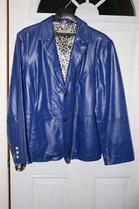 Blue lamb leather Jacket