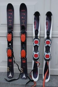 Snowblades skis Atomic 99 cm & Salomon 90  With non-releasable b