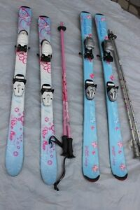 2 skis bindings & poles for girls Head 110, 120 (107 cm, 117 cm)