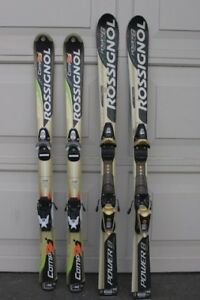 2 rossignol parabolic skis junior size 120 & 130 cm long with pr