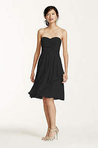 Black Short Crinkle Chiffon Dress with Front Cascade