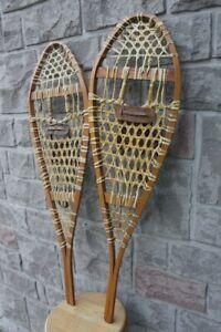 Vintage shoes Snow Shoeing Pair Snowshoes Wood Framed Ski Lodge
