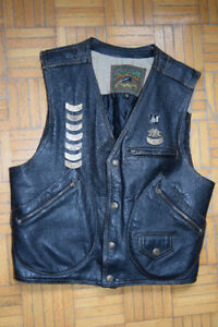 Veston de cuir moto / motorcycle leather vest