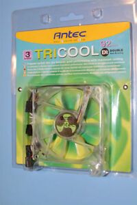 Antec TriCool 92mm 3-Speed Clear Double Ball Bearing Fan - New!