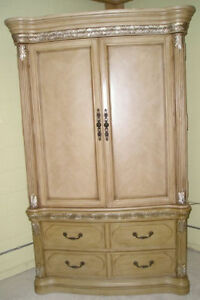 MASSIVE ORNATE 2PC TV-ARMOIRE, French Country design, lots of s