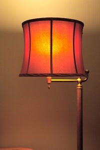 2 lamp shades: wine silk with gold lining