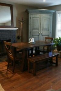 Rustic Farmhouse Dining Table, All Solid Wood - By LIKEN Woodworks