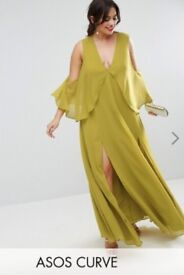 PLUS SIZE CURVE ASOS BRAND NEW WITH TAGS MAXI CHIFFON GREEN DRESS SIZE UK 22 / 24