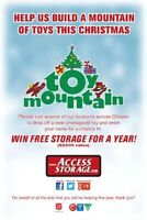 GRAND PARK SELF STORAGE IS BUILDING A MOUNTAIN OF TOYS!