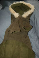 Two brand new dog jackets, soft and cozy, with hoods