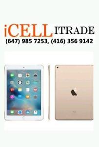 iPAD AIR 2 64GB WIFI/CELLULAR MINT GOLD $599, iPAD AIR 1 32GB WIFI - MINT $389. IPAD PRO 128GB BRANDNEW SEALED $899