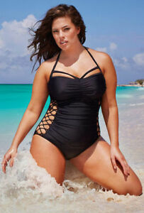 Sexy Black Cut-Out Swimsuit - Size 14 (New)
