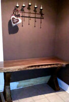 One of a kind hand crafted black walnut/live edge table