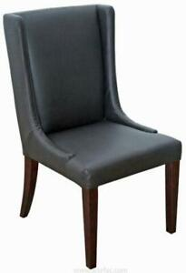 2 - Brown Leather Dining Wing Chair, Also in Grey and Cream