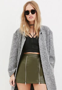 Forever 21 Women's Green Zippered Faux Leather Mini Skirt