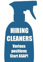 LOOKING FOR WORK? WE NEED CLEANERS!