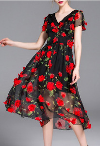 Red/Black Lace Dress with Rose Appliques (Cocktail/Party/Grad)