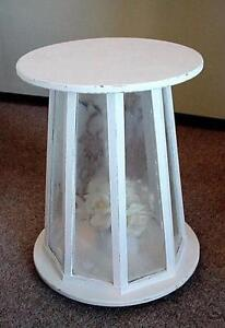Shabby Chic Foyer Hall Table White with Frosted Panels