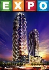 For lease 820 sqft Expo Luxury 1 Bdr+Den+2Wrms condo