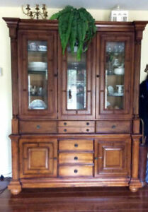 Cabinet & Hutch Solid wood-glass shelves $1200.