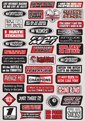 FACTORY EFFEX FX 2015 SPONSOR/LOGO STICKER SHEETS FUN PHRASES STICKER KIT -