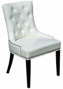 White Accent Tufted Leather Dining Room Kitchen Chair