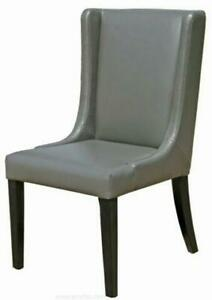6 - Grey Leather Dining Wing Chair, Also in Brown and Cream