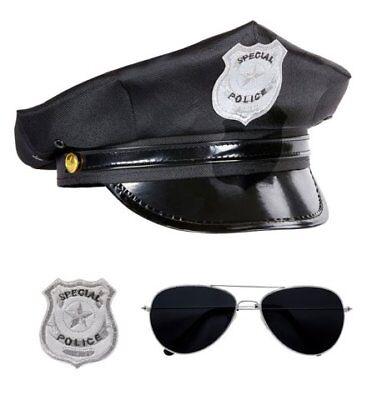 Polizist Set Hut Brille Dienstmarke  Polizeikostüm Polizei Männerkostüm neu