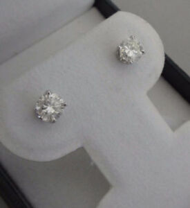 NEW $5,6700 CAD 1.05ct diamond 14k white gold stud earrings