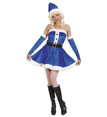 blaue Miss Santa Weihnachtsfrau Samt Plüsch Weihnachten Kostüm Verkleidung (Samt Miss Santa Kostüme)