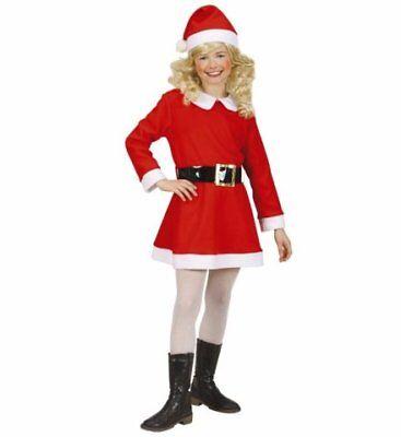 Santa Girl Flanell Kleid Gürtel Hut Set Weihnachten Kostüm Größe 128cm 5-7 - Santa Girl Kostüm