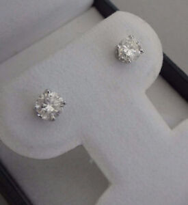 NEW CERTIFIED 1.31ct natural diamond 14k gold stud earrings