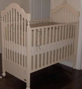 Morigeau Lepine crib with a drawer, crib bedding set, toys