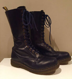 Dr. Martens Women's Blue Combat 14 Eye Boots Mid High Lace Up 11