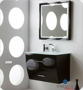 wave 24 glossy black or white modern bathroom vanity w faucet
