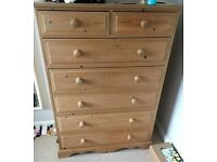 Tall Solid Pine Chest of Drawers