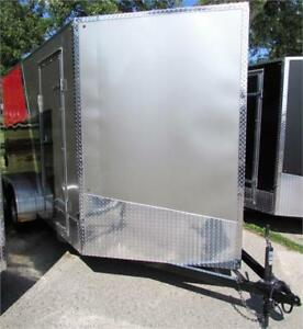"""New Cargo Trailer 7'x14"""" V-Nose Pewter/Red, Finacing Available"""