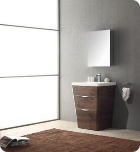 Milano 26 Inch Rosewood Modern Bathroom Vanity w/ Medicine Cab