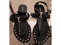 Matalan Black & Gold Sandals - Size 6 - Brand New